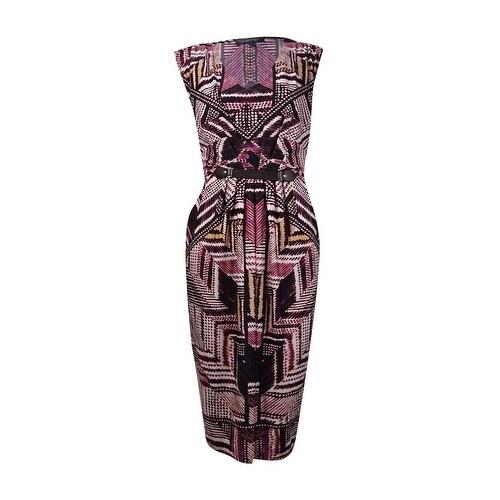NY Collection Women's Hardware Detail Waist Pocket Dress - Purple/Multi - M