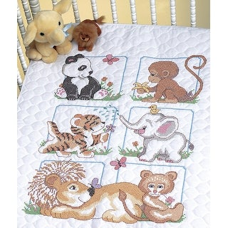 "Animal Babies Quilt Stamped Cross Stitch Kit-34""X43"""