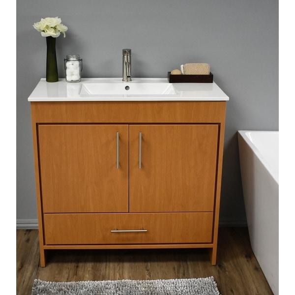 Volpa USA Pacific 36-inch Honey Maple Freestanding Bathroom Vanity Set. Opens flyout.