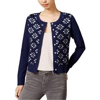 Maison Jules Long Sleeve Jacquard Cardigan Sweater - s