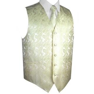 Men's Formal Tuxedo Vest, Tie & Pocket Square Set-Banana Paisley-XL