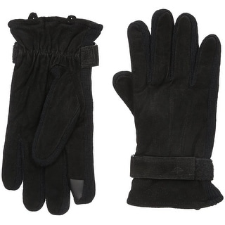 Dockers Men Genuine Leather & Knit Gloves Heritage Fit - Black