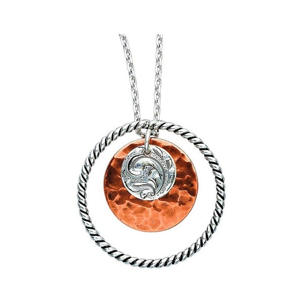 Bar V Western Womens Necklace Engraved Hammered Disc Silver 316-304
