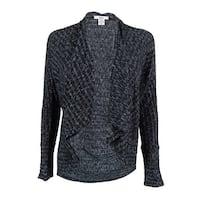 Bar III Women's Marled-Knit Flyaway Cardigan - black combo - m