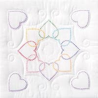 "Xx Hearts Circle - Stamped White Quilt Blocks 18""X18"" 6/Pkg"
