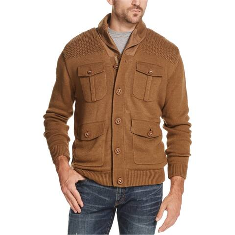 Weatherproof Mens Fleece-Lined 4-Pocket Cardigan Sweater
