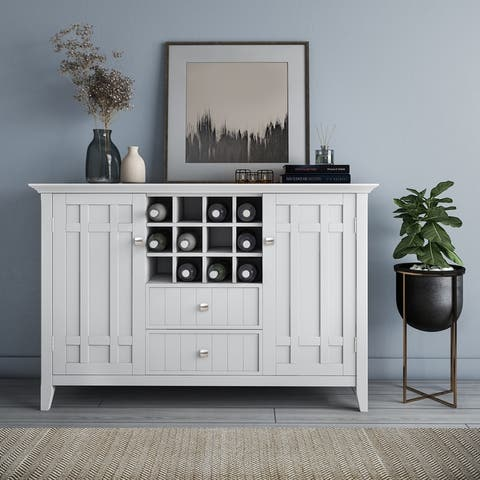 WYNDENHALL Freemont SOLID WOOD 54 inch Wide Rustic Sideboard Buffet and Winerack - 54 W x 17 D x 36 H - 54 W x 17 D x 36 H