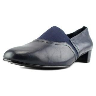 David Tate Gianna Women W Round Toe Leather Blue Loafer