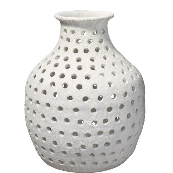 "16.5"" Matte White Ceramic Open Work Design Small Vase - N/A"