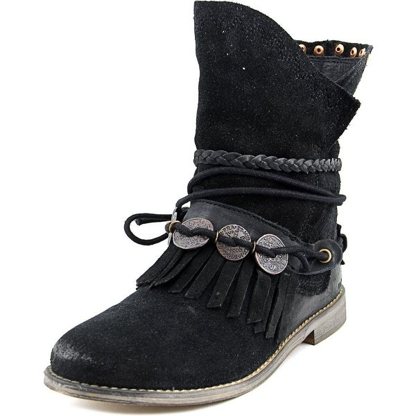 Musse & Cloud Anaeh Women Round Toe Suede Black Mid Calf Boot
