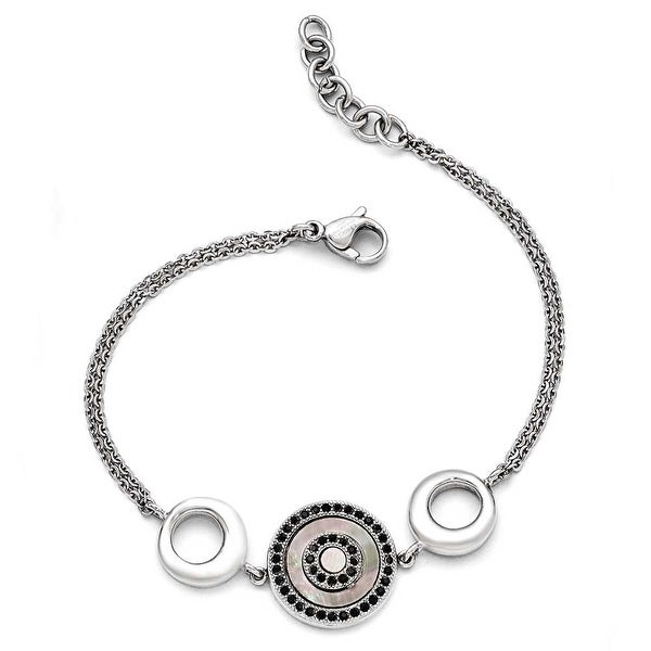 Chisel Stainless Steel Polished Black Mother of Pearl and Crystal with .75 inch Extension Bracelet