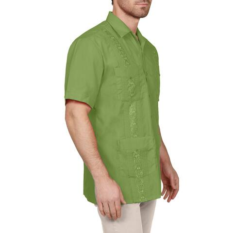 NE PEOPLE Men's Short Sleeve Cuban Guayabera Button Down Shirts Top XS-4XL [NEMT112]