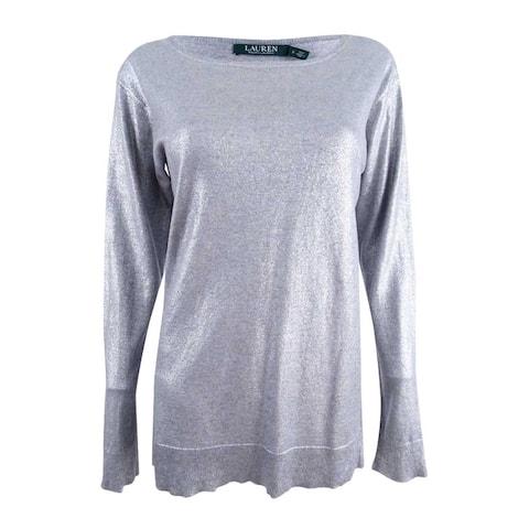 Ralph Lauren Women's Shiny Pullover Sweater Top - Grey