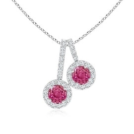 Dangling Two Stone Pink Sapphire and Diamond Halo Pendant Necklace