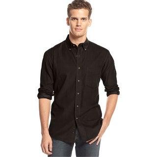 Club Room Long Sleeve Corduroy Button Down Shirt Coffee Brown X-Large