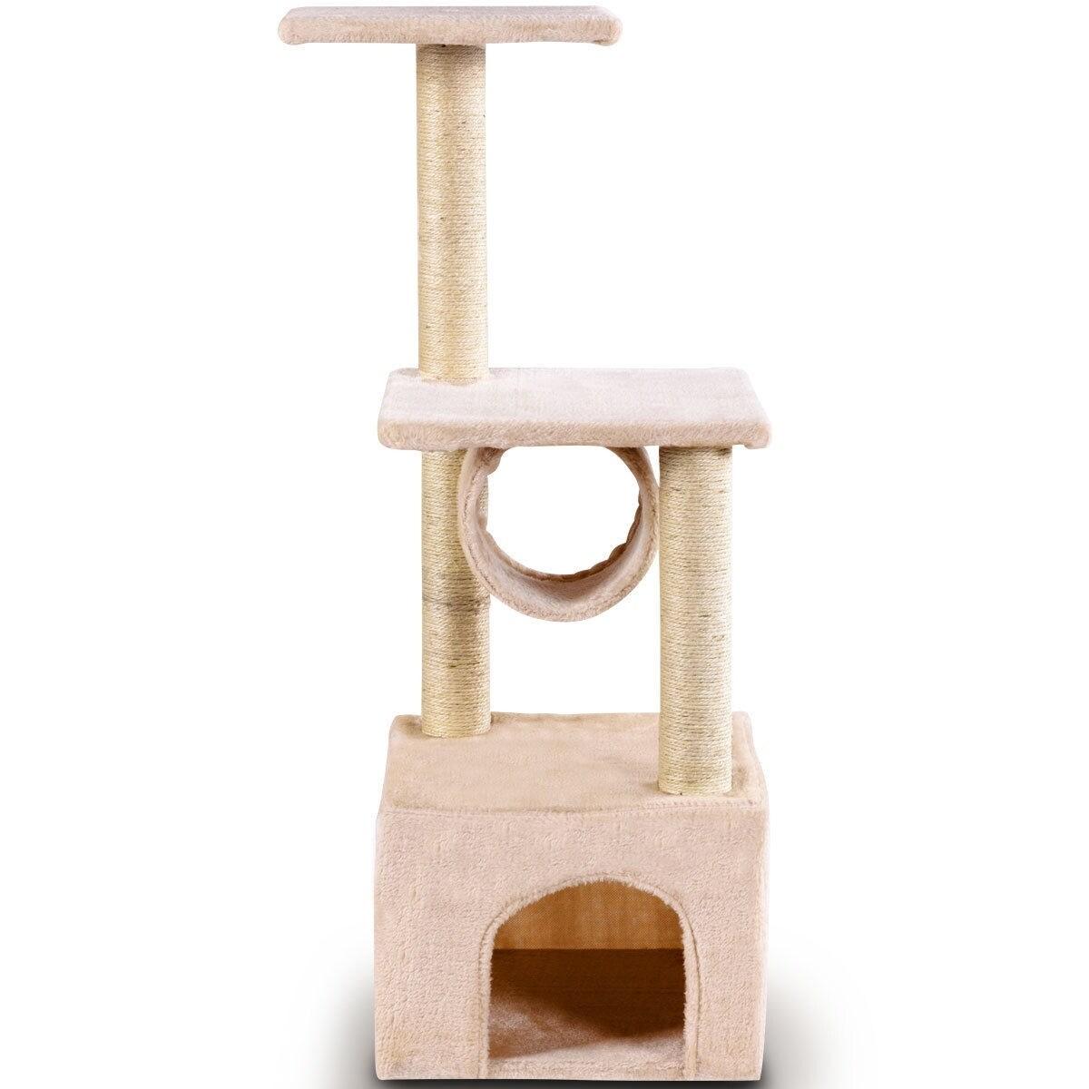 37 Cat Tree Condo Scratch Post Kitten Pet House-Beige