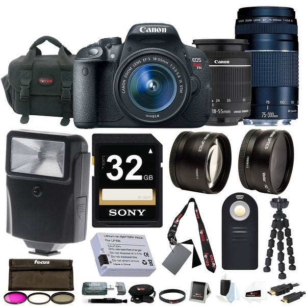 Canon EOS Rebel T5i with EF-S 18-55mm f/3.5-5.6 IS STM and 75-300mm f/4.0-5.6 EF III Zoom Lens + Deluxe Accessory Bundle