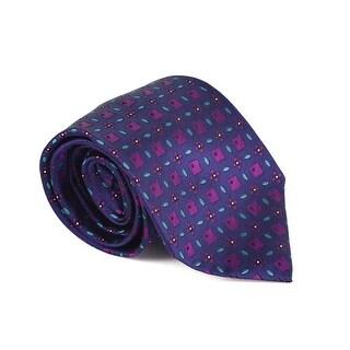 Etro Mens Dark Purple 100% Silk Geometric Print 3.25 In Standard Tie - One size