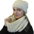 Hat and Infinity Scarf 2-Piece Knit Set, Cable Knit Lurex Intertwined - Thumbnail 0