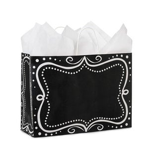 """Pack Of 25, Vogue 16 X 6 X 12"""" Chalkboard Borders Recycled Paper Shopping Bags Made In Usa"""
