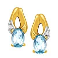 3/8 ct Aquamarine Stud Earrings in 10K Gold - Blue