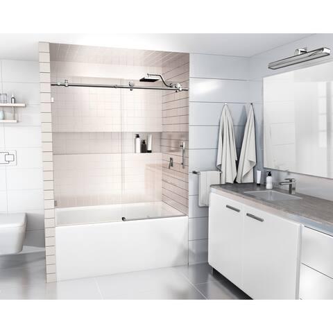 Glass Warehouse 68 in. - 72 in. x 60in. Frameless Bath Tub Sliding Shower Door