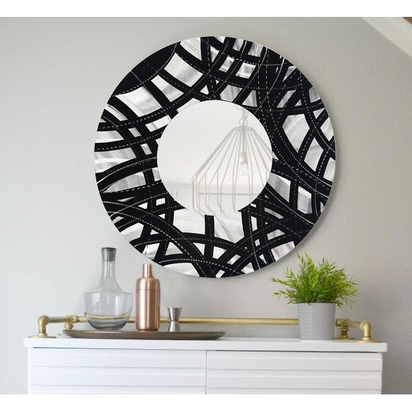 Statements2000 Black / Silver Metal Decorative Wall-Mounted Mirror by Jon Allen - Mirror 108