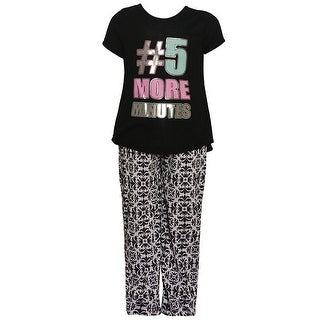 "Girls Black ""5 More Minutes"" Glitter Print Hi-Low 2 Pc Pajamas Set"