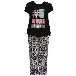 "Little Girls Black ""5 More Minutes"" Glitter Print Hi-Low 2 Pc Pajamas Set"