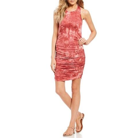 Jessica Simpson Red Medium M Junior Tye-Dye Ruched Sheath Dress