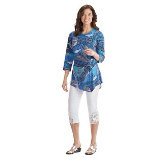 Women's Tunic Top in Blue and White Graphic Print - 3/4 Sleeves, Asymmetrical Hem