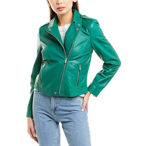 Badgley Mischka Leather Biker Jacket