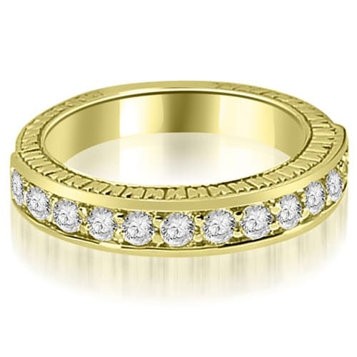 0.60 cttw. 14K Yellow Gold Antique Round Cut Diamond Wedding Band