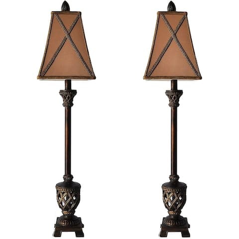 Set of 2 MESTAR 35-inch Traditional Bronze Buffet Lamps - 35