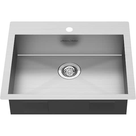 """American Standard 18SB.6252211 Edgewater 25"""" Drop In or Undermount Single Basin Stainless Steel Kitchen Sink with Basket"""