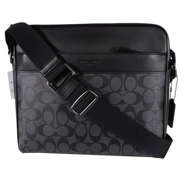 0ca2012623 Coach Men  x27 s F28456 Grey Black Coated Canvas Signature Camera Messenger  Bag -