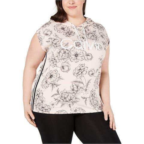 Calvin Klein Womens Perennial Hoodie Sweatshirt, pink, 2X