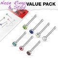 7 Pcs Value Pack of Assorted 316L Surgical Steel 2mm CZ Nose Bone Studs - Thumbnail 0