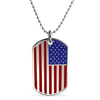 Bling Jewelry Steel Patriotic USA Flag Dog Pendant on 19 Inches Ball Chain