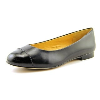Trotters Chic Women W Round Toe Leather Black Flats