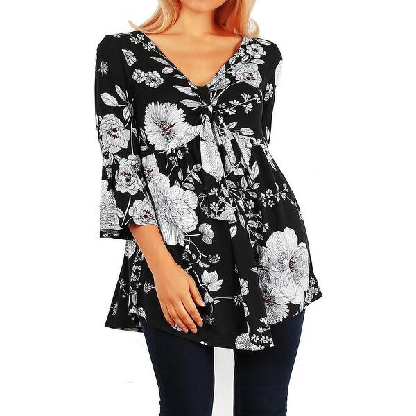 Funfash Women Plus Size Empire Waist Black White Top Shirt Made USA