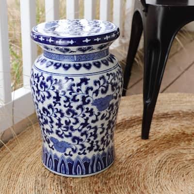 "Claybarn Blue Garden Porcelain 16"" Decorative Lotus Podium Stool"