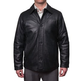 Perry Ellis Men's Lamb Skin Leather Button Front Jacket