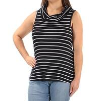 Womens Black Striped Sleeveless Cowl Neck Casual Top  Size  XL