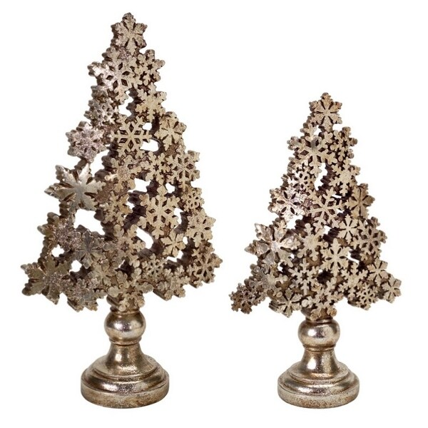 Set of 2 Antique Brass and Champagne Gold Snowflake Christmas Tree Table Top Decoration 18.5""
