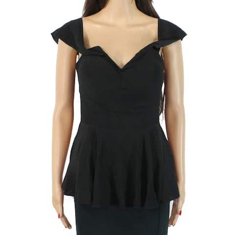 bebe Women's Blouse True Midnight Black Size 4 Cap Sleeve Peplum V-Back