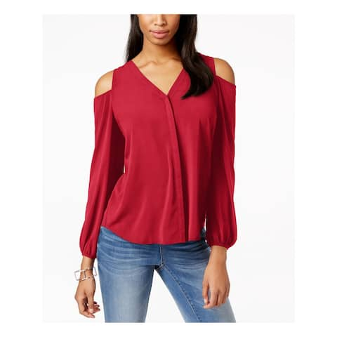 INC Womens Red Color Block Dolman Sleeve Jewel Neck Top Size 6