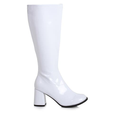 """Womens 3"""" Wide Width White Gogo Boots with Zipper"""