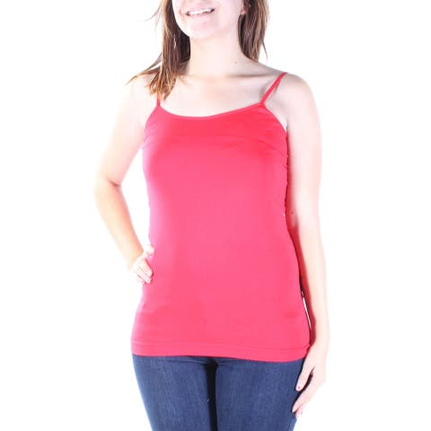 MOPAS Womens Red Spaghetti Strap Scoop Neck Top Size: ONE SIZE