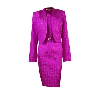 Kasper Women's Belted Sophisticated Jacket & Dress Set - wild orchid